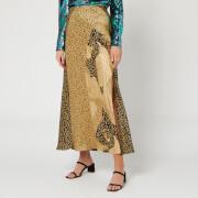 RIXO Women's Parker Skirt - Gold Patchwork Leopard Mix - XS
