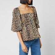 Ganni Women's Printed Cotton Poplin Blouse - Leopard - EU 34/UK 6