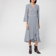 Ganni Women's Checked Printed Crepe Wrap Dress - Brunnera Blue - EU 34/UK 6