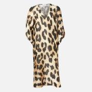 Ganni Women's Silk Linen Midi Dress - Maxi Leopard - EU 34/UK 6