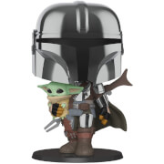 Star Wars The Mandalorian with Chrome Armour Carrying Baby Yoda 10-Inch Pop! Vinyl Figure