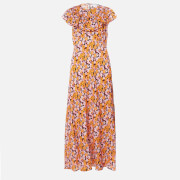 RIXO Women's Lacey Midi Dress - Abstract 60S Floral Yellow Pick - S
