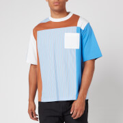 White Mountaineering Men's Stripe Contrasted T Shirt - Blue - S