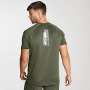Мужская спортивная футболка с короткими рукавами и принтом, цвет армейский зеленый - M фото