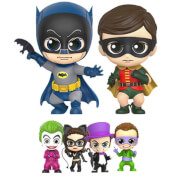 Lot de figurines Cosbaby Batman, Robin et Vilains 11cm - Batman 1966 - Hot Toys