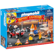 Playmobil Advent Calendar   Construction Site Fire Rescue With Pullback Motor (9486)