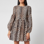 Ganni Women's Leopard Print Silk Blend Dress - Leopard - EU 34/UK 6