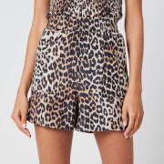 Ganni Women's Leopard Print Silk Blend Shorts - Leopard - EU 34/UK 6