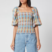 Ganni Women's Seersucker Check Top - Multicolour - EU 34/UK 6