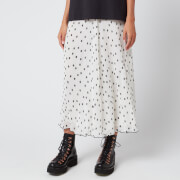 Ganni Women's Pleated Polk Dot Georgette Skirt - Egret - EU 34/UK 6