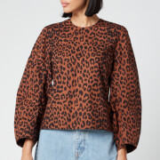 Ganni Women's Leopard Print Cotton Poplin Top - Toffee - EU 34/UK 6