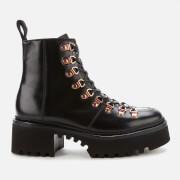 Grenson Women's Nanette Leather Hiking Style Boots - Black Colorado - UK  3