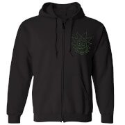 Rick and Morty Rick Embroidered Unisex Zipped Hoodie - Black
