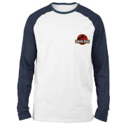 Jurassic Park Logo Embroidered Unisex Long Sleeved Raglan T-Shirt - White/Navy