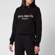 Balmain Women's Cropped Sequined Logo Hoodie - Black - XS