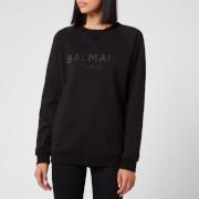Balmain Women's Satin Logo Sweatshirt - Black - XS