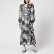 Ganni Women's Seersucker Check Long Sleeve Maxi Dress - Black - EU 36/UK 8