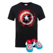 Pack Capitán América Marvel: Camiseta + Pantuflas - Pantuflas S-M