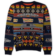 Back to the Future Christmas Knitted Jumper Navy