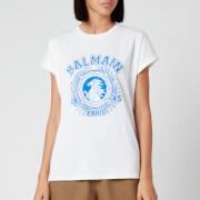 Balmain Women's Flocked Balmain University T-Shirt - White - XS