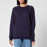 Balmain Women's Satin Logo Sweatshirt - Navy - S