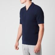 Frescobol Carioca Men's Textured Knit Polo Shirt - Navy Blue - S
