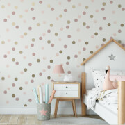 Superfresco Easy Pink/Gold Dotty Polka Wallpaper