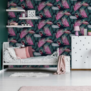 Fresco Neon Love Tropical Floral Wallpaper