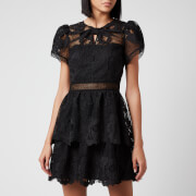 Self Portrait Women's Lace Guipure Tiered Mini Dress - Black - UK 6
