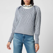 See by Chloé Women's High Frill Neck Jumper - Blue White - S