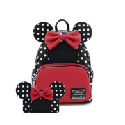 Loungefly Disney Minnie Mouse Blk/Wht Polka Dot Mini Backpack and Wallet Set