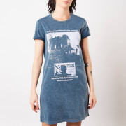Psycho Mother Knows Best Women's T-Shirt Dress - Navy Acid Wash