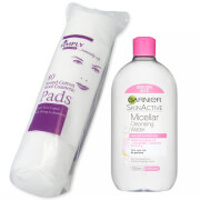 Купить Garnier Micellar Water Facial Cleanser Makeup Remover 700ml with Cotton Wool Pads Bundle