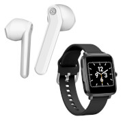 Mixx Streambuds AX TWS Earphones - White + Smart Watch - Bundle