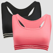 MP Damen Limited Edition Impact Bralette (2er-Pack) – Schwarz/Pink