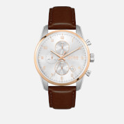 BOSS Hugo Boss Men's Skymaster Leather Strap Watch - White/Silver/Brown