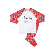 Daddy Believes Men's Patterned Pyjamas - White / Red