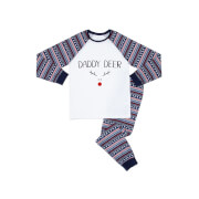 Daddy Deer Men's Patterned Pyjamas - White / Navy