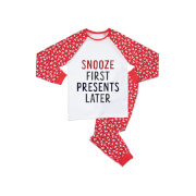 Snooze First Presents Later Men's Patterned Pyjamas - White / Red
