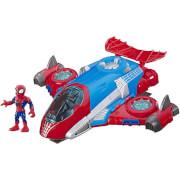 "Hasbro Playskool Heroes Marvel Super Hero Adventures Spider-Man Jetquarters 5"" Action Figure and Vehicle"