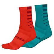 Women's Coolmax® Stripe Socks (Twin Pack) - Pacific Blue