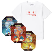 Lot Pokémon Salamèche : T-Shirt & Cartes Pokémon TCG : Hidden Fates Tin