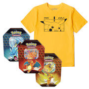 Lot Pokémon Pikachu : T-Shirt & Cartes Pokémon TCG : Hidden Fates Tin