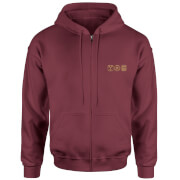 Back To The Future Icons Embroidered Unisex Zipped Hoodie - Burgundy