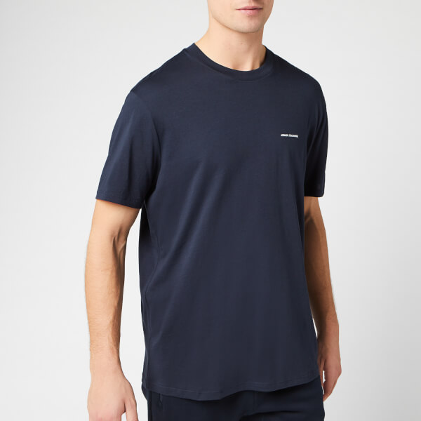 armani exchange men's small script logo t-shirt - navy - s - blue