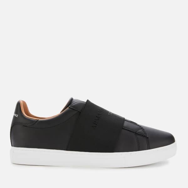 armani exchange men's leather slip-on low top trainers - black/black - uk 10