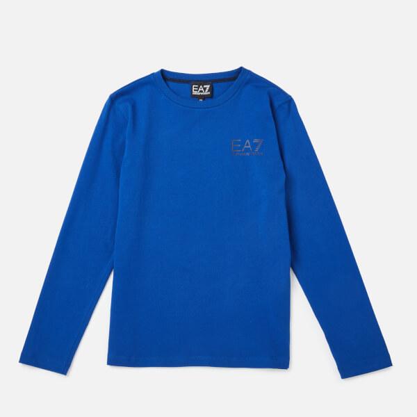 emporio armani ea7 boys' train core id long sleeve t-shirt - mazarine blue - 4 years
