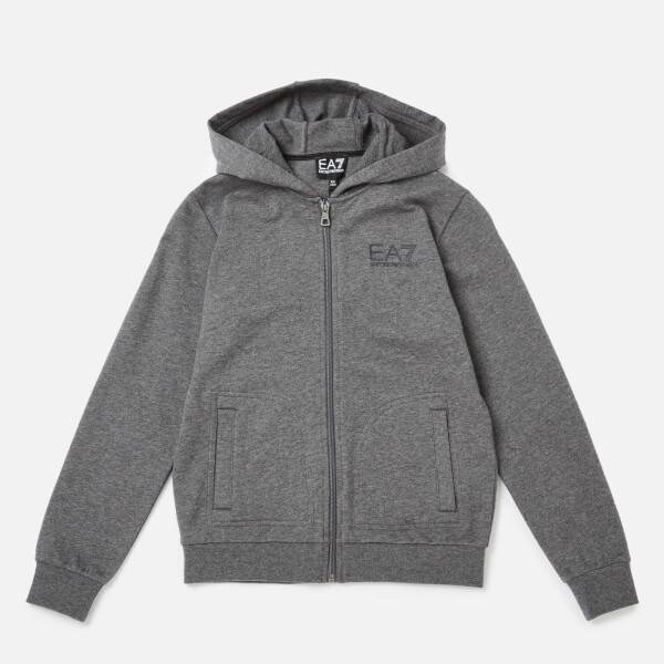 emporio armani ea7 boys' train core id full zip hoodie - dark grey melange - 4 years