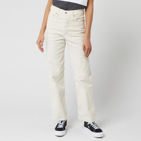 levi's women's ribcage straight ankle corduroy jeans - ecru wide wale - w31/l27