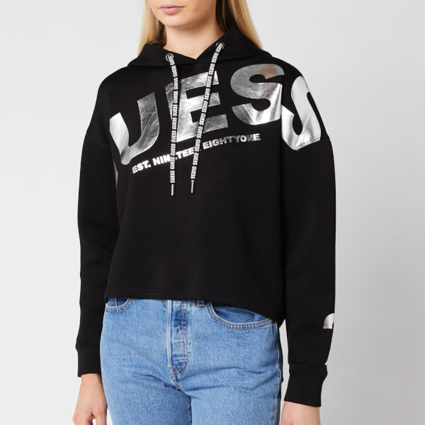 guess women's isadora fleece hoody - jet black - xs